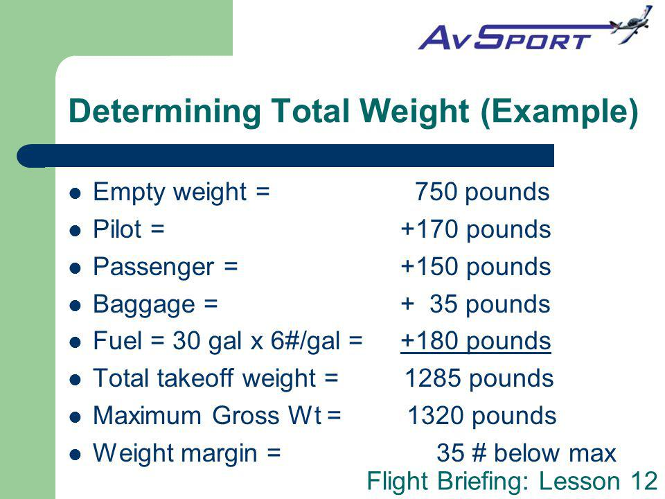 Determining Total Weight (Example)