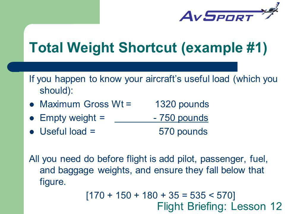 Total Weight Shortcut (example #1)