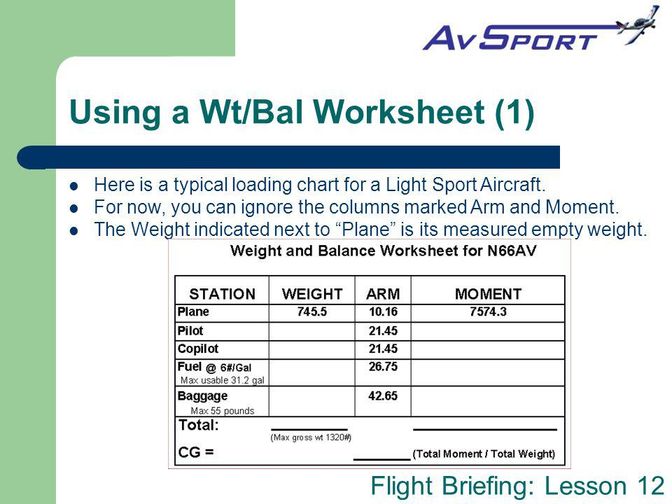 Using a Wt/Bal Worksheet (1)