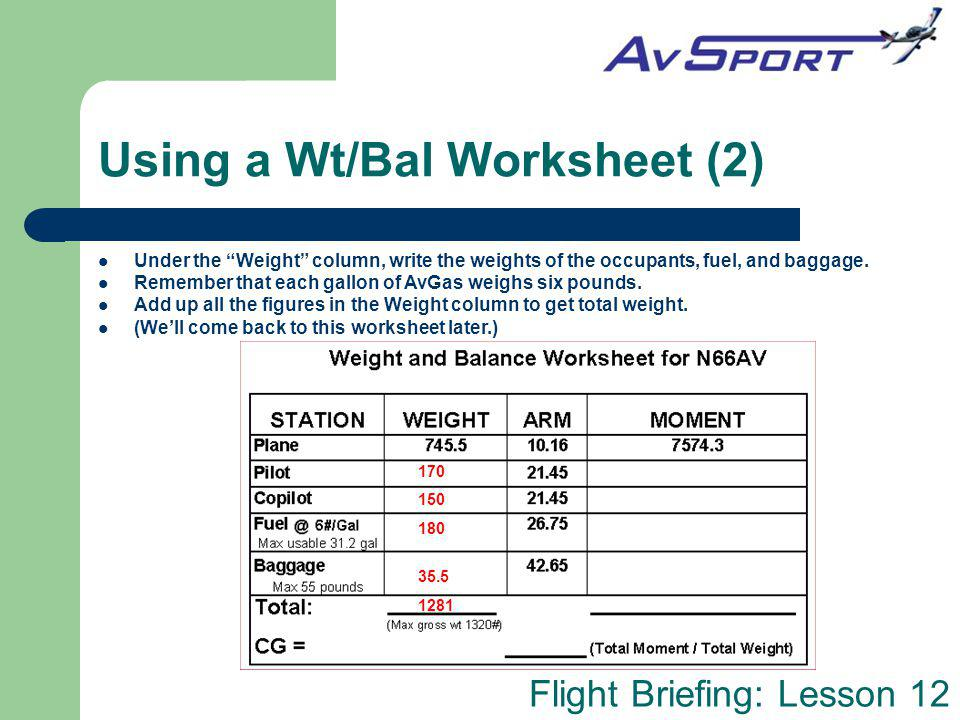 Using a Wt/Bal Worksheet (2)
