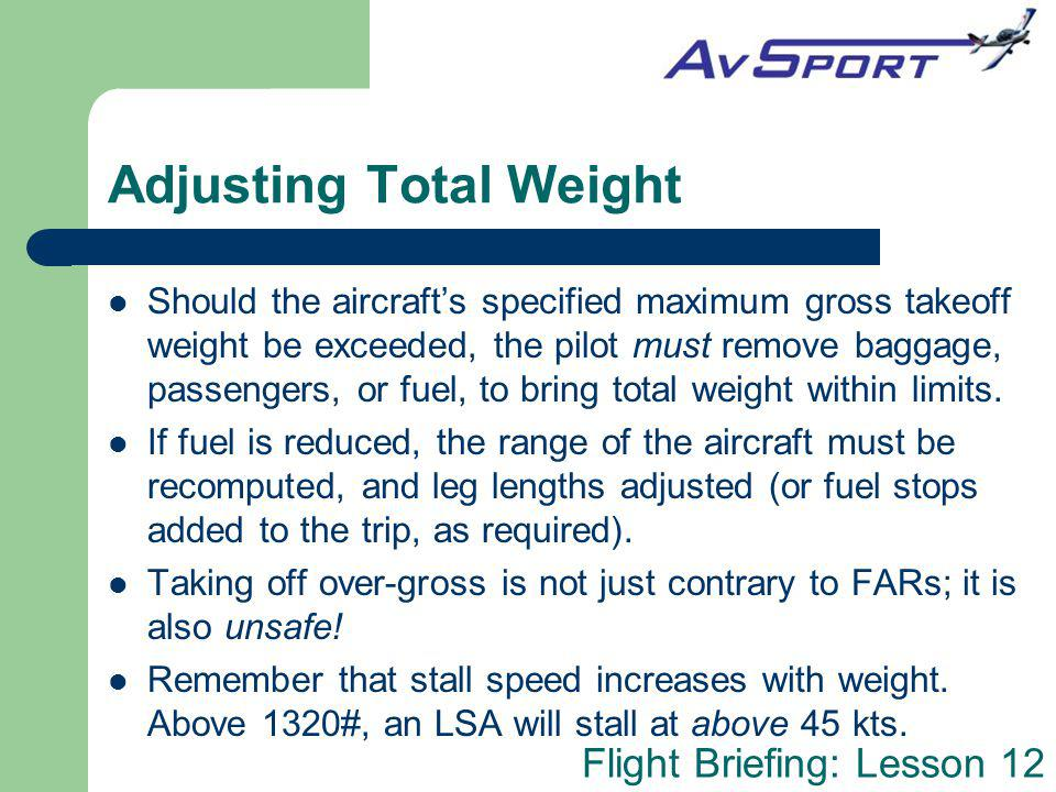 Adjusting Total Weight