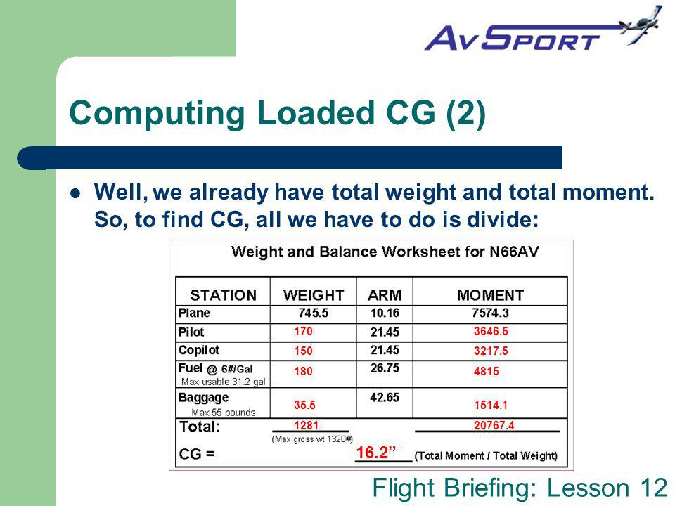 Computing Loaded CG (2) Well, we already have total weight and total moment. So, to find CG, all we have to do is divide: