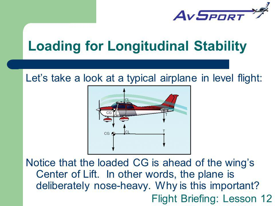 Loading for Longitudinal Stability