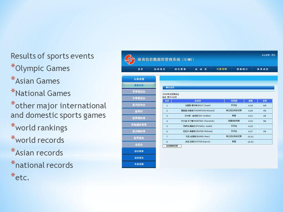 Results of sports events