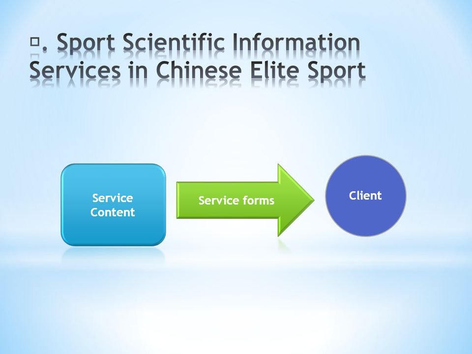 Ⅱ. Sport Scientific Information Services in Chinese Elite Sport