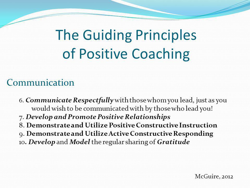 The Guiding Principles of Positive Coaching