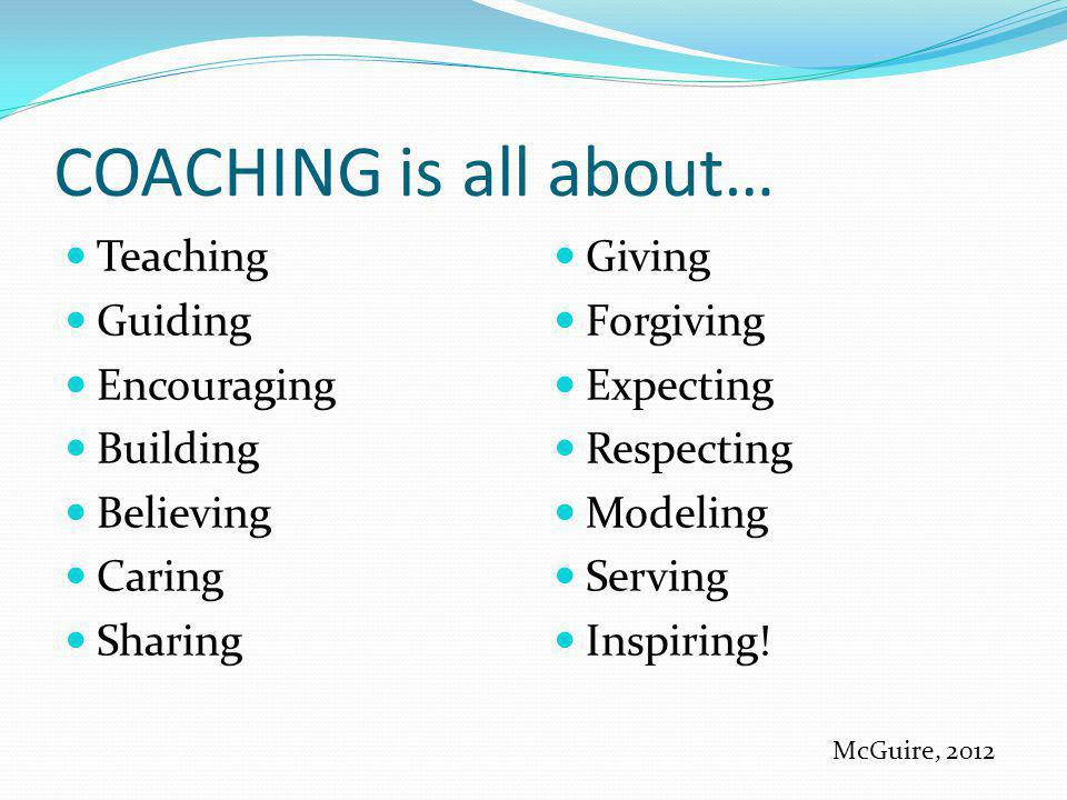 COACHING is all about… Teaching Guiding Encouraging Building Believing