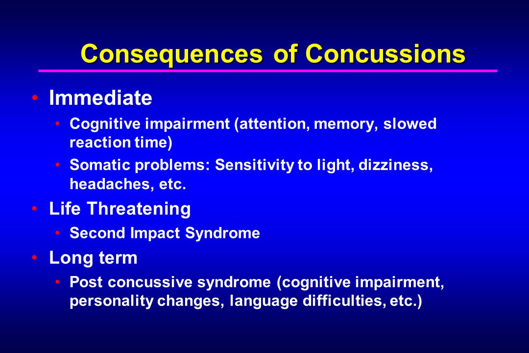Consequences of Concussions