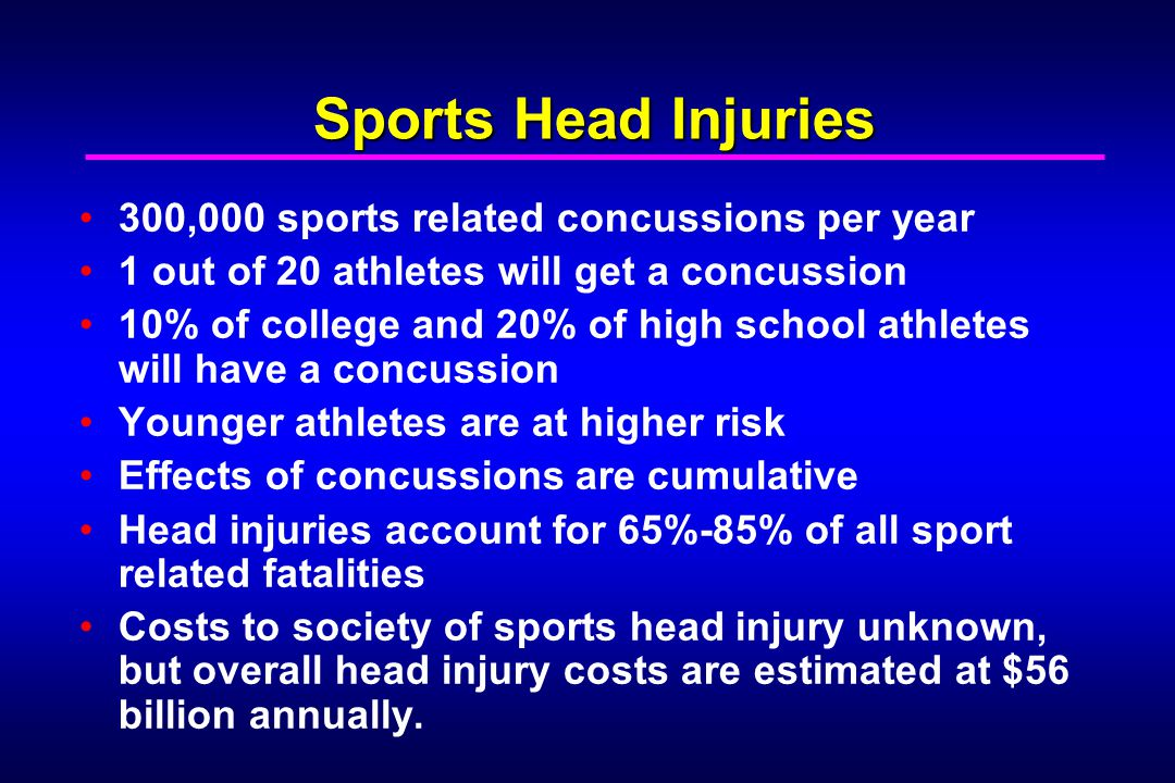 Sports Head Injuries 300,000 sports related concussions per year
