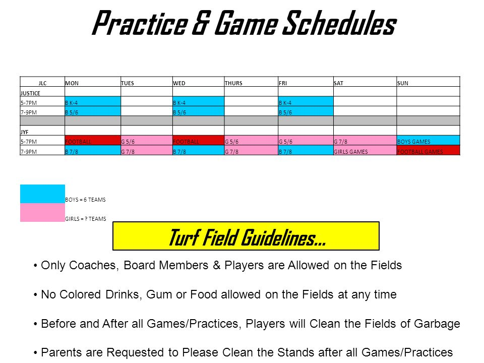 Practice & Game Schedules Turf Field Guidelines…