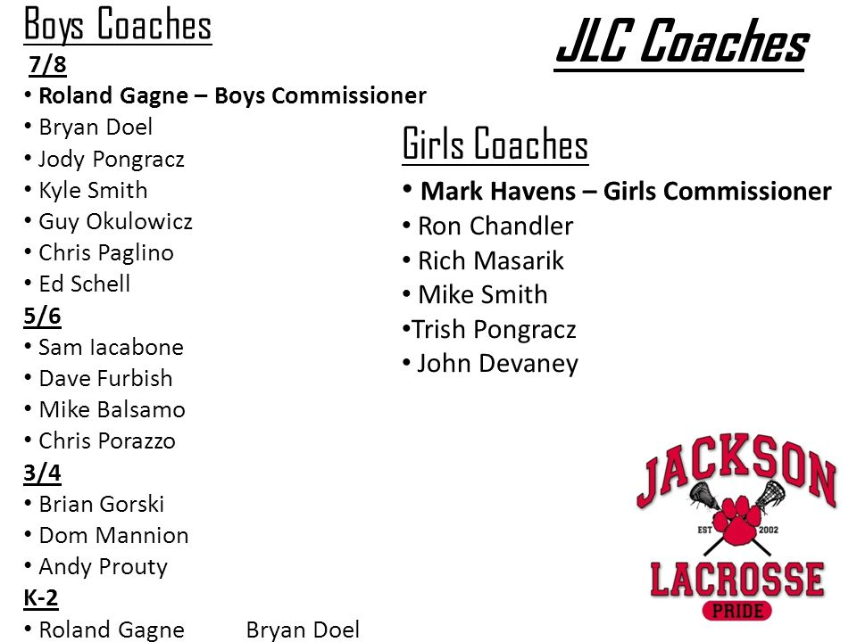 JLC Coaches Boys Coaches Girls Coaches