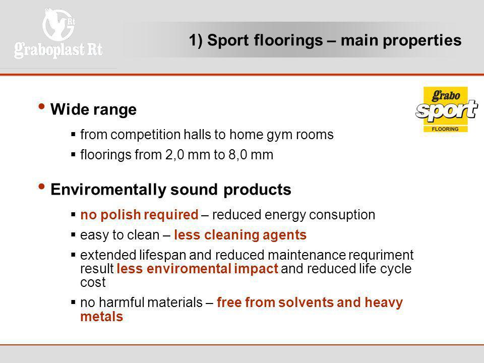 1) Sport floorings – main properties