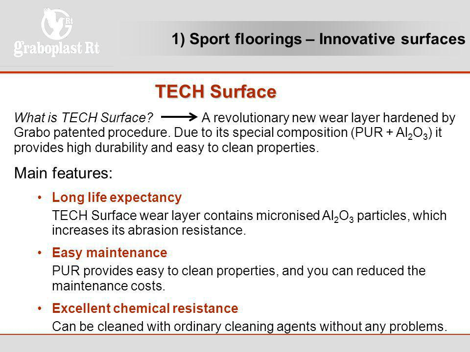 TECH Surface 1) Sport floorings – Innovative surfaces Main features: