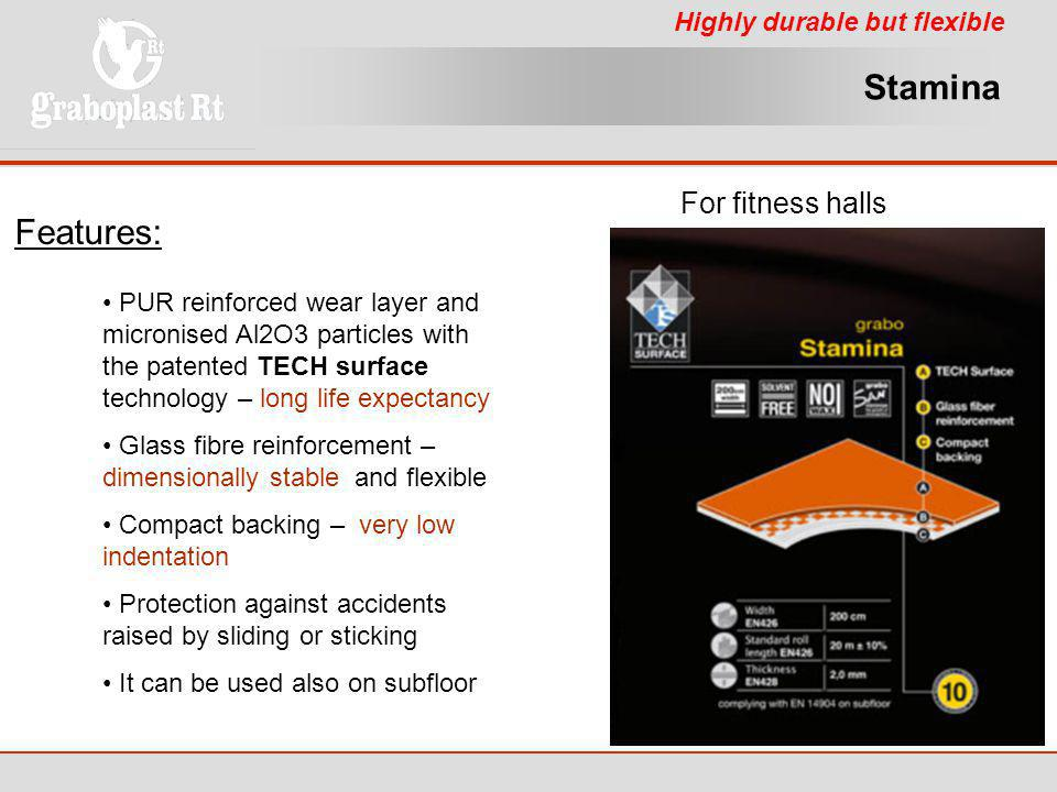 Stamina Features: For fitness halls Highly durable but flexible