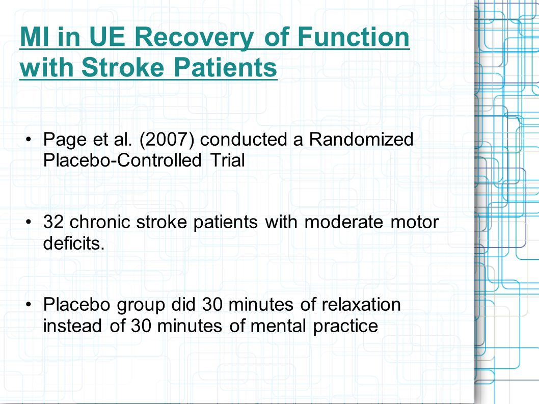 MI in UE Recovery of Function with Stroke Patients