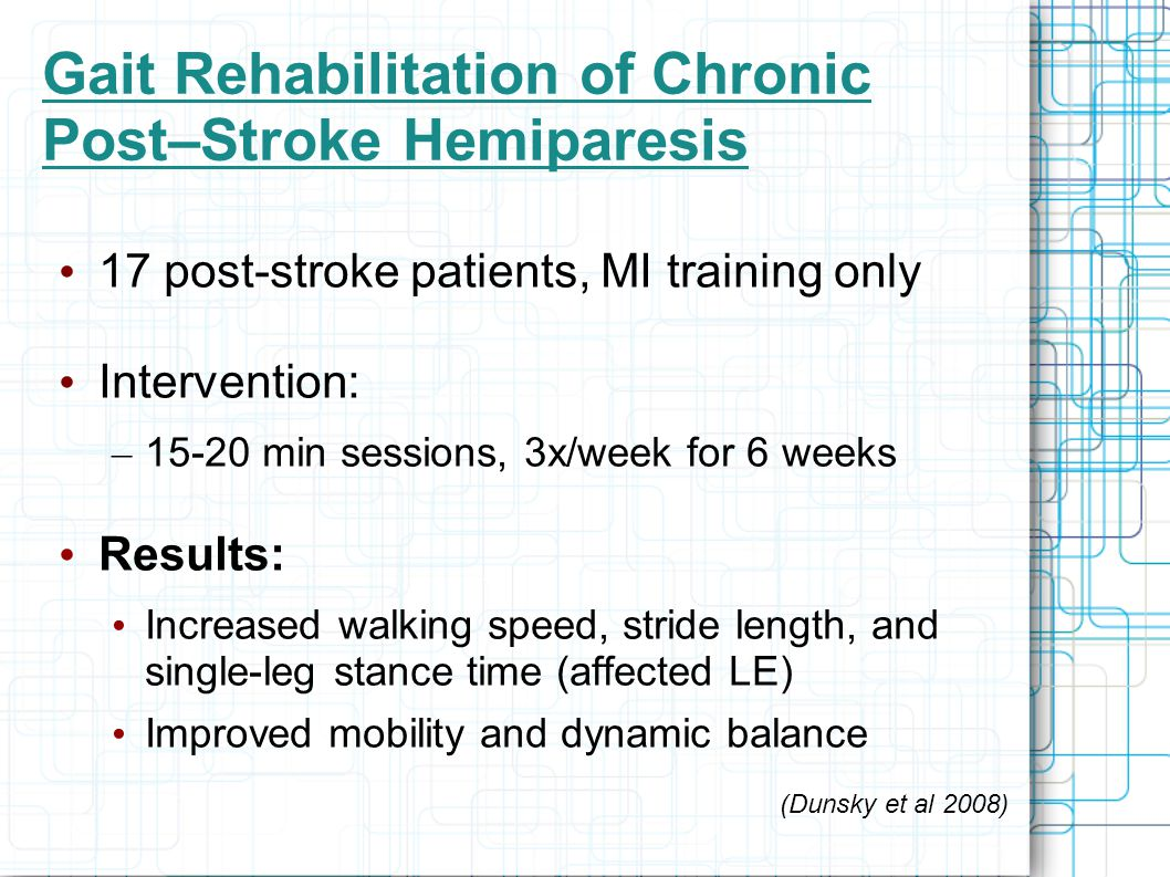 Gait Rehabilitation of Chronic Post–Stroke Hemiparesis