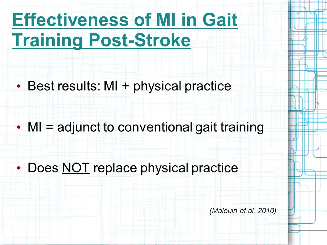 Effectiveness of MI in Gait Training Post-Stroke