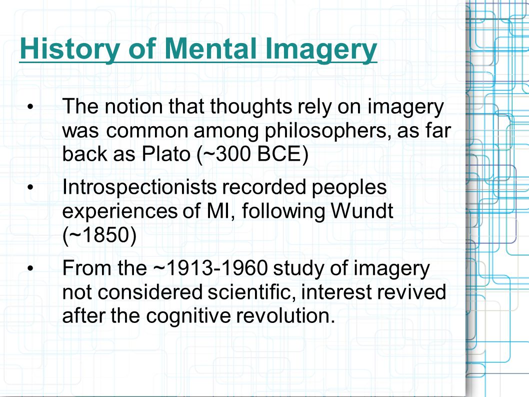 History of Mental Imagery