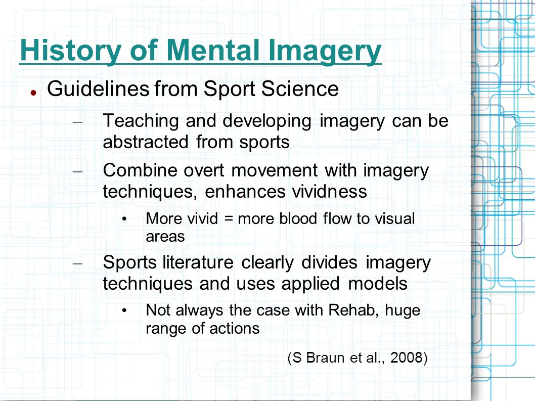 mental imagery vividness as a predictor