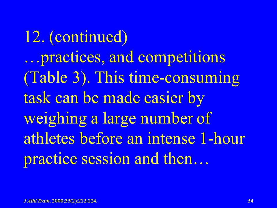 12. (continued) …practices, and competitions (Table 3)