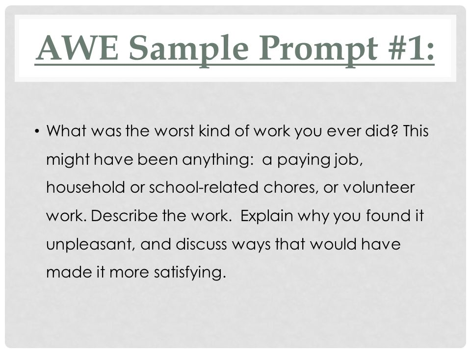 AWE Sample Prompt #1: