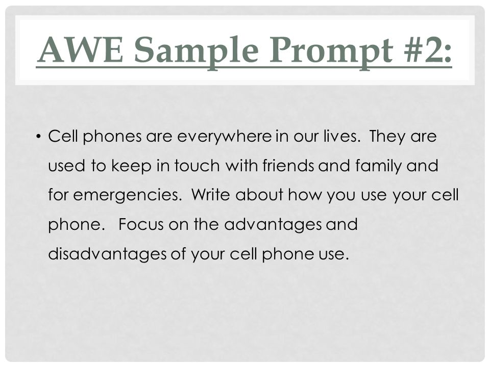 AWE Sample Prompt #2: