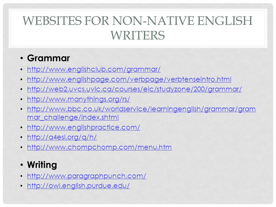 Websites for non-native english writers