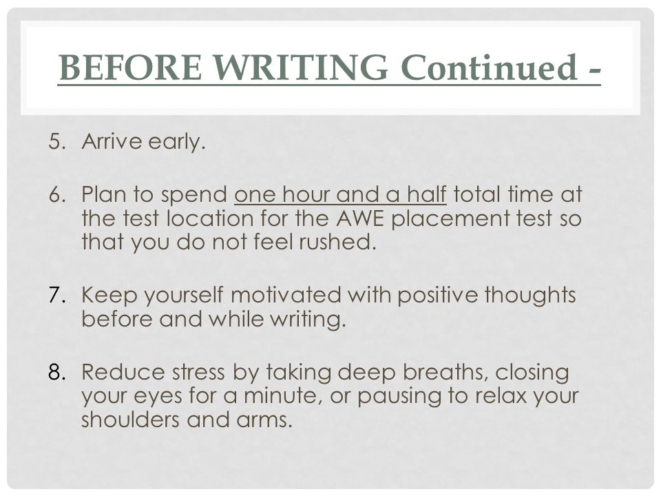 BEFORE WRITING Continued -