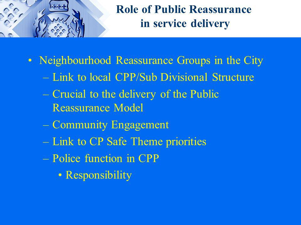 Role of Public Reassurance in service delivery