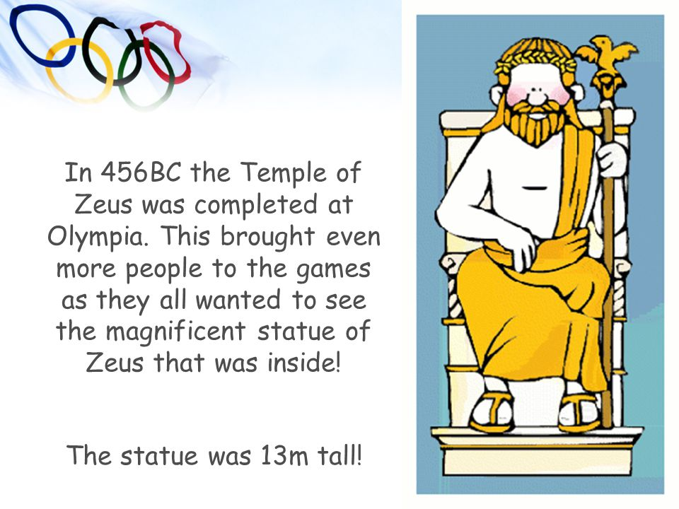 In 456BC the Temple of Zeus was completed at Olympia