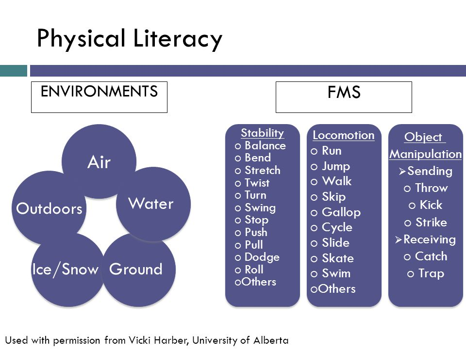 Physical Literacy Air FMS Water Outdoors Ice/Snow Ground ENVIRONMENTS