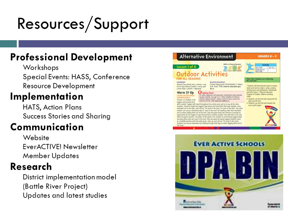 Resources/Support Professional Development Implementation