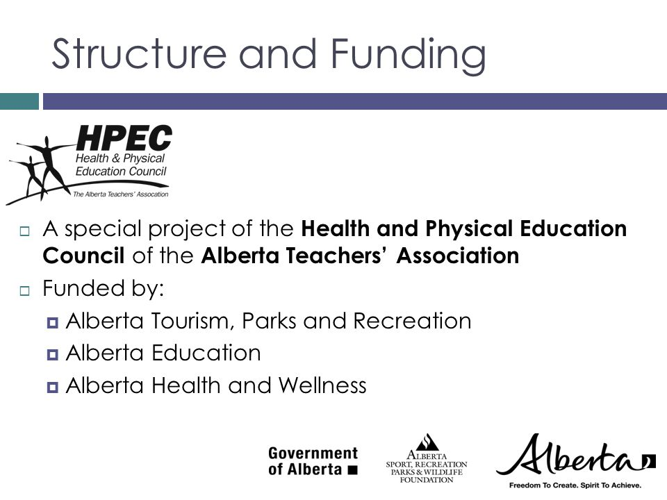 Structure and Funding A special project of the Health and Physical Education Council of the Alberta Teachers' Association.