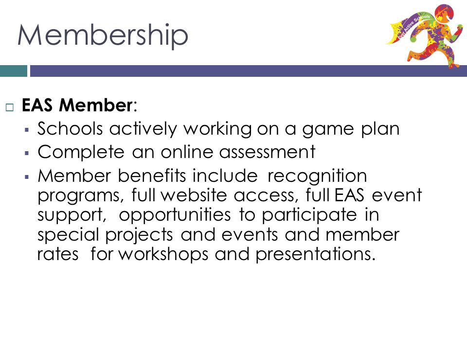 Membership EAS Member: Schools actively working on a game plan