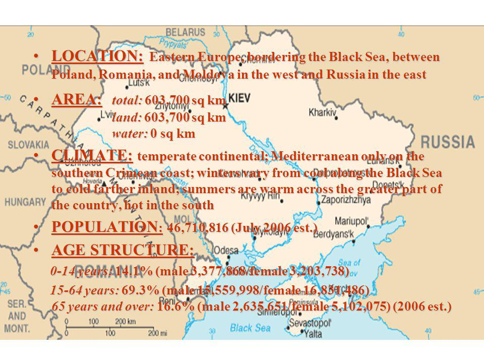 AREA: total: 603,700 sq km land: 603,700 sq km water: 0 sq km