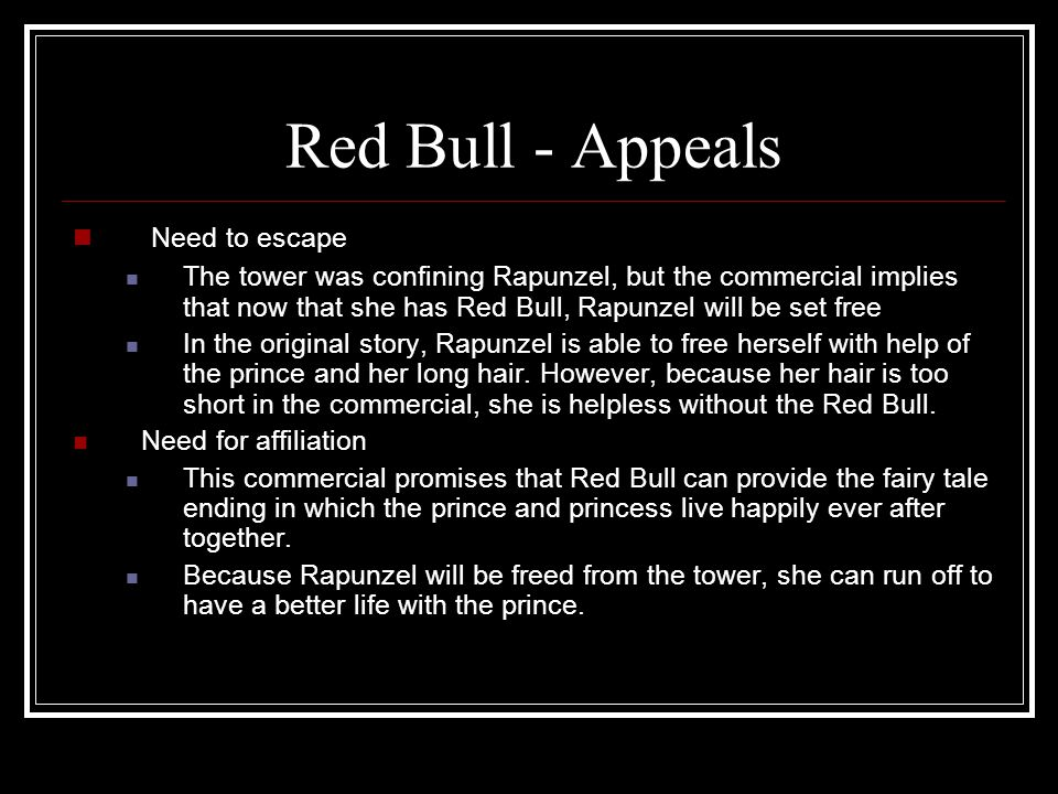 Red Bull - Appeals Need to escape