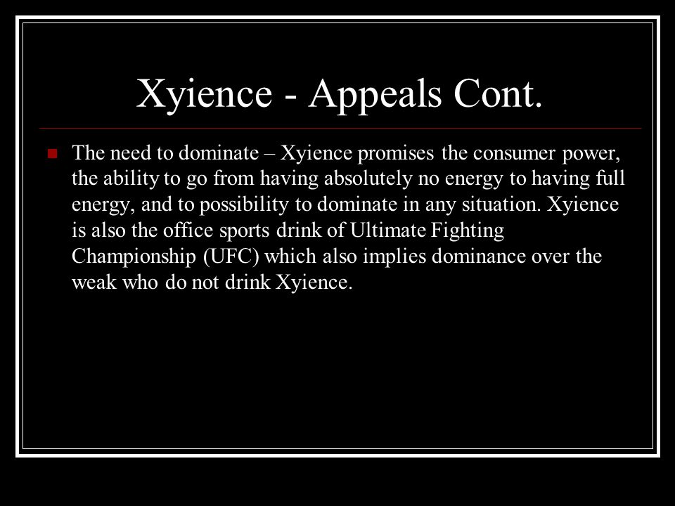 Xyience - Appeals Cont.