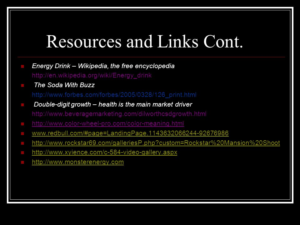 Resources and Links Cont.