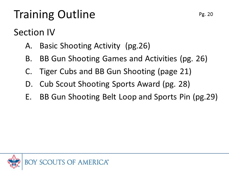 Training Outline Section IV Basic Shooting Activity (pg.26)