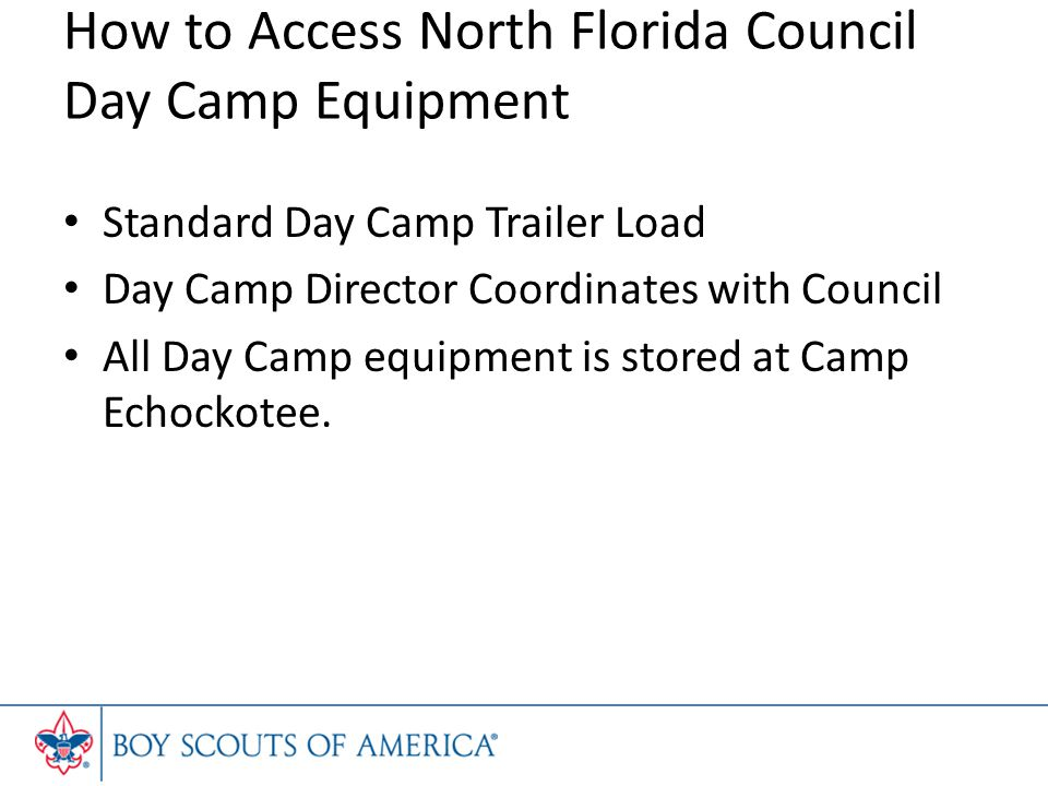 How to Access North Florida Council Day Camp Equipment