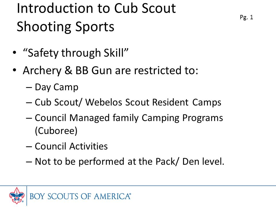 Introduction to Cub Scout Shooting Sports