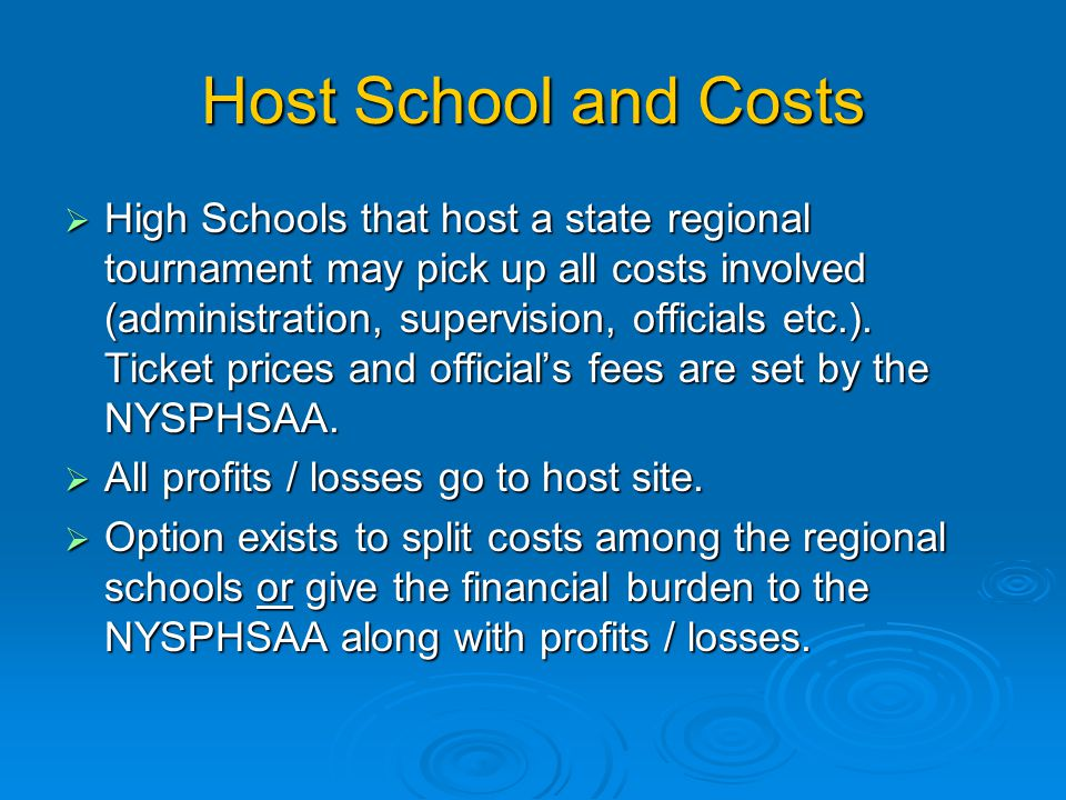 Host School and Costs