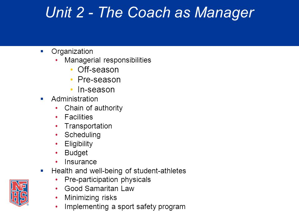 Unit 2 - The Coach as Manager