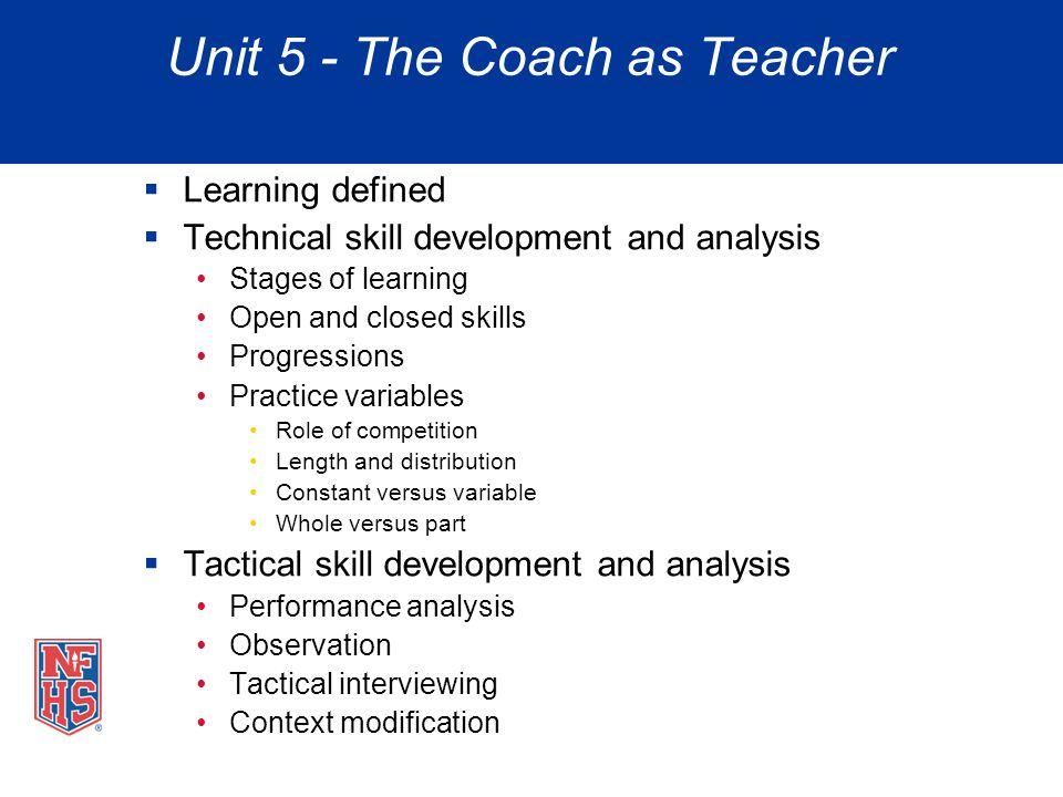 Unit 5 - The Coach as Teacher