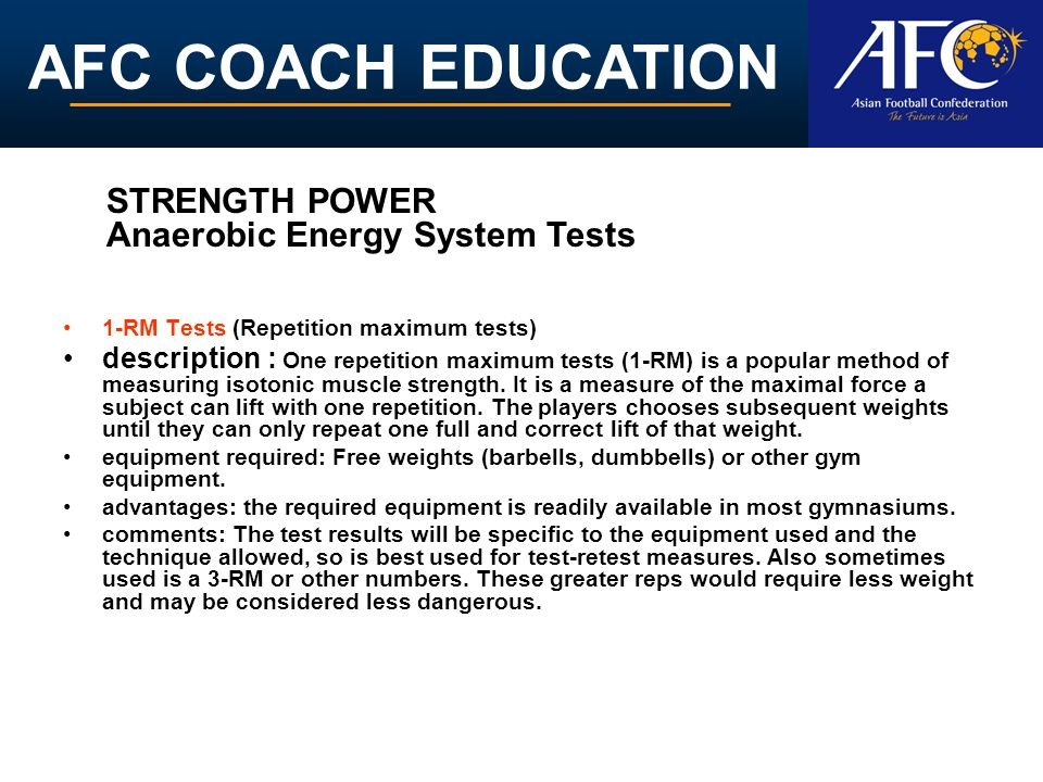 STRENGTH POWER Anaerobic Energy System Tests