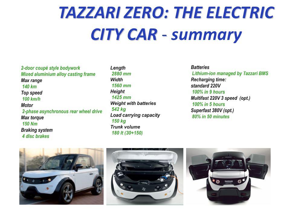 TAZZARI ZERO: THE ELECTRIC CITY CAR - summary