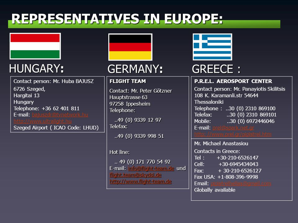 REPRESENTATIVES IN EUROPE: