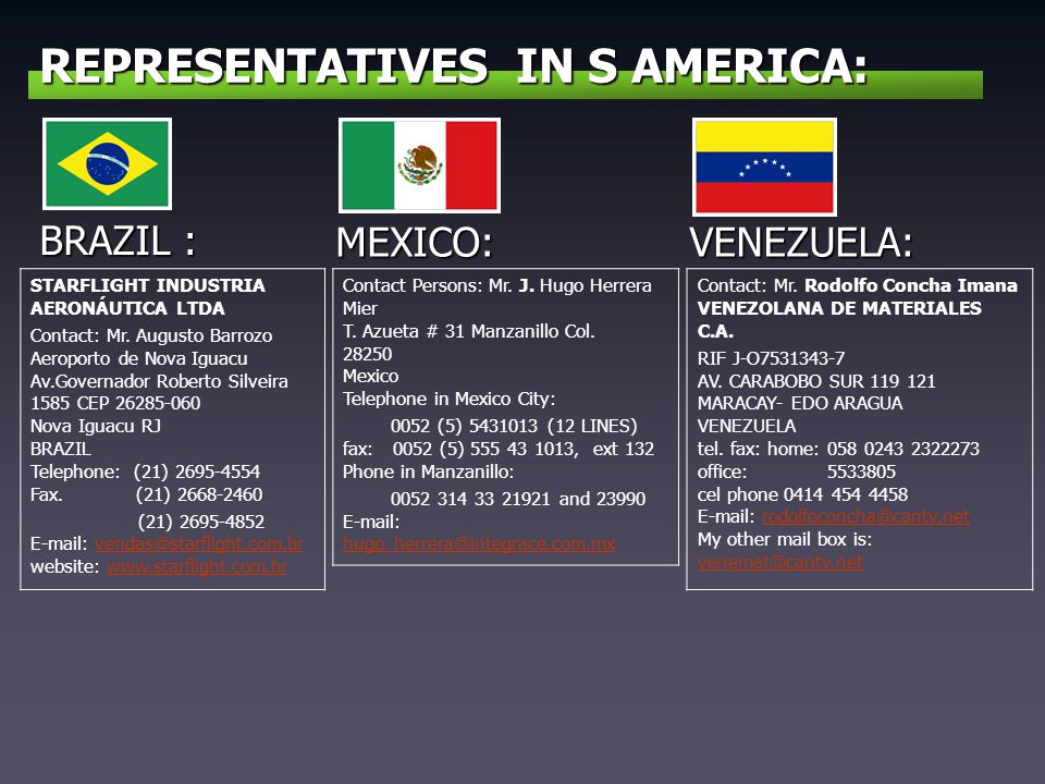 REPRESENTATIVES IN S AMERICA: