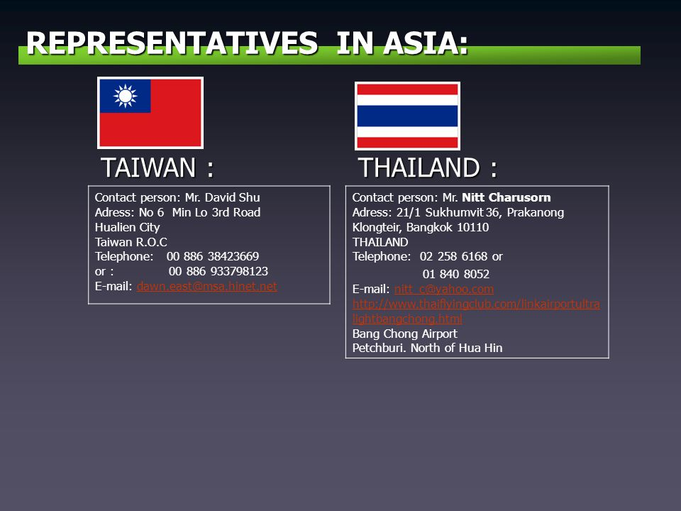 REPRESENTATIVES IN ASIA: