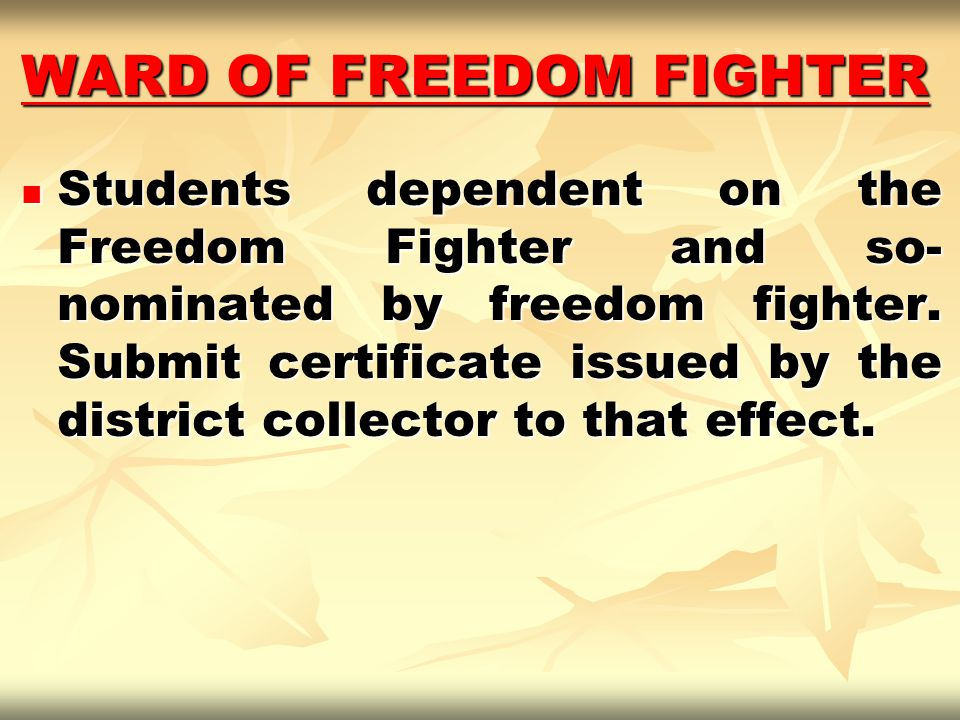 WARD OF FREEDOM FIGHTER